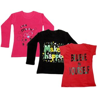 Indistar Girls 2 Cotton Full Sleeves and 1 Half Sleeves Printed T-Shirt (Pack of 3)_Red::Black::Red_Size: 6-7 Year