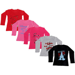 Indistar Girls 5 Cotton Full Sleeves Printed T-Shirt (Pack of 5)
