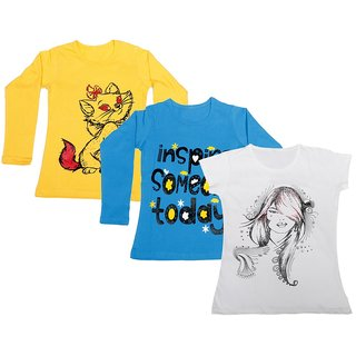Indistar Girls 2 Cotton Full Sleeves and 1 Half Sleeves Printed T-Shirt (Pack of 3)_Yellow::Blue::White_Size: 6-7 Year