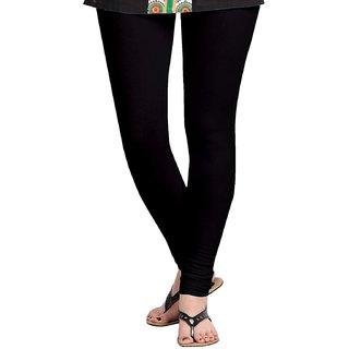 Women's Cotton Blended Churidar Leggings - Black ( Free Size )
