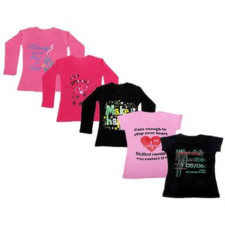 Indistar Girls 3 Cotton Full Sleeves and 2 Half Sleeves Printed T-Shirt (Pack of 5)_Pink::Black::Red::Pink::Black_Size: 6-7 Year