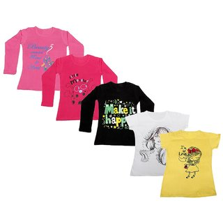 Indistar Girls 3 Cotton Full Sleeves and 2 Half Sleeves Printed T-Shirt (Pack of 5)_Pink::Black::Red::White::Yellow_Size: 6-7 Year
