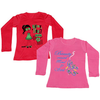 Indistar Girls Cotton Full Sleeves Printed T-Shirt (Pack of 2)_Pink::Red_Size: 6-7 Year