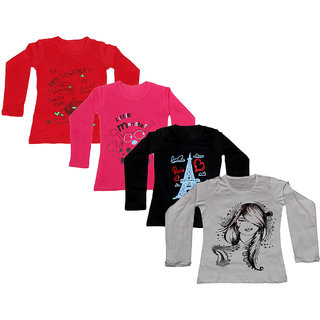 Indistar Girls Cotton Full Sleeves Printed T-Shirt (Pack of 4)_Red::Red::Black::White_Size: 6-7 Year