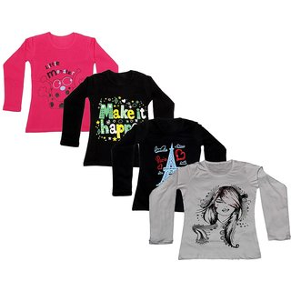 Indistar Girls Cotton Full Sleeves Printed T-Shirt (Pack of 4)_Red::Black::Black::White_Size: 6-7 Year