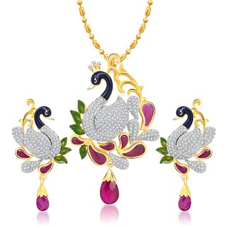 VK Jewels Excellent Mayur Pendant Set With Earrings-PS1066G [VKPS1066G]