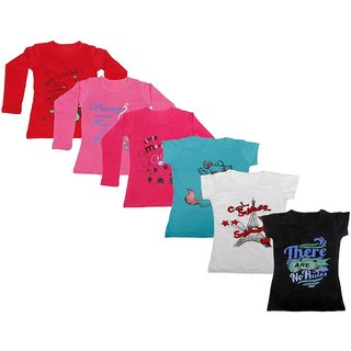 Indistar Girls 3 Cotton Full Sleeves and 3 Half Sleeves Printed T-Shirt (Pack of 6)_Red::Red::Pink::Blue::Grey::Black_Size: 6-7 Year