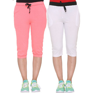 Vimal-Jonney Multicolor Cotton Blended Capris For Women(Pack Of 2)