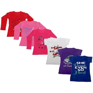 Indistar Girls 3 Cotton Full Sleeves and 3 Half Sleeves Printed T-Shirt (Pack of 6)_Red::Red::Pink::Grey::Purple::Blue_Size: 6-7 Year