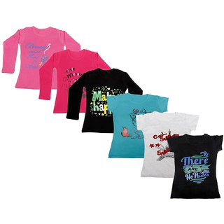 Indistar Girls Cotton Full Sleeves Printed T-Shirt (Pack of 4)_Pink::Black::Red::Blue::Grey::Black_Size: 6-7 Year