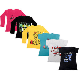 Indistar Girls Cotton Full Sleeves Printed T-Shirt (Pack of 4)_Red::Yellow::Black::Blue::Grey::Black_Size: 6-7 Year