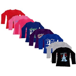Indistar Girls Cotton Full Sleeve Printed T-Shirt(Pack of 8 T-Shirts)_Purple::Blue::Gray ::Black ::Red::Pink::Red::Purple_8-9 Years