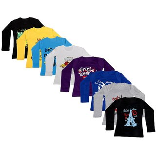 Indistar Girls Cotton Full Sleeve Printed T-Shirt(Pack of 8 T-Shirts)_Purple::Blue::Gray::Black::Yellow::white_8-9 Years