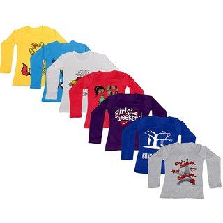 Indistar Girls Cotton Full Sleeve Printed T-Shirt(Pack of 7 T-Shirts)_Multi-Coloured_8-9 Years