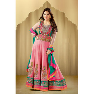 Magnificent Pink Net Anarkali Suit with Heavy Resham///Embroidered work
