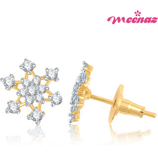 Meenaz Blooming Flower Gold & Rhodium Plated CZ Earings T113