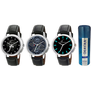 Combo Of 3 Stylish Elegant Analogue Wrist Watches And Ogavaa Deodorant