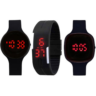 Combo Of 3 Stylish Black Led Watches Of Different Shape