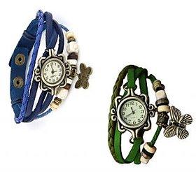 Jack Klein Round Dial Blue, Green  Strap Womens Quartz Watch