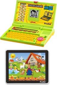 Prasid Combo Of English Learner Kids Laptop (Green) & Large Old MacDonald Farm