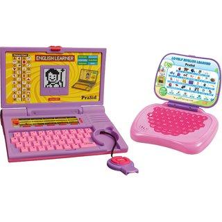 Prasid Combo Of English Learner Kids Laptop (Purple) Lovely English Learner (Pink)
