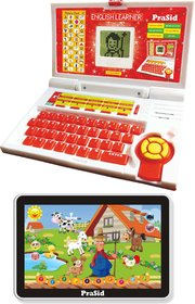 Prasid Combo Of English Learner Kids Laptop (Red) & Small Old MacDonald Farm