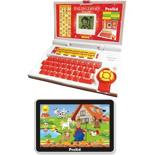 Prasid Combo Of English Learner Kids Laptop (Red)  Small Old MacDonald Farm