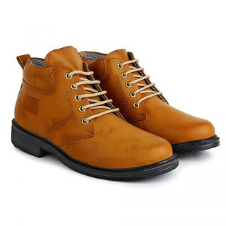 BUWCH Men's Tan Lace-up Boots