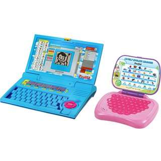 Prasid Combo Of English Learner Kids Laptop (Blue)  Lovely English Learner (Pink)