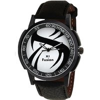 X5 Fusion Round Dial Black Leather Strap Quartz Watch F