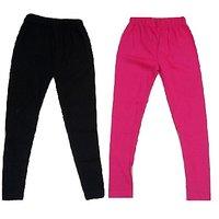 Girls Cotton Lycra Multicolour Legging (Pack of - 2)