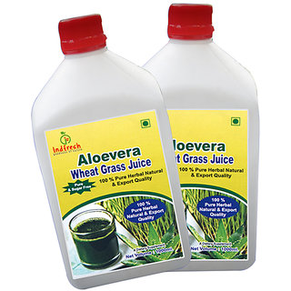 INDFRESH ALOE VERA JUICE WITH WHEAT GRASS - 1 LTR. SUGAR FREE (COMBO PACK OF 2)