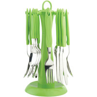 Elegante Signature Green Look Cutlery Set - 24 Pcs With Stand