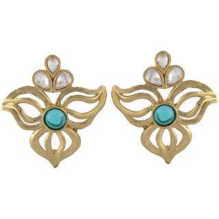 Arsya Jewellery Golden Studs with Jade Blue AOVE15