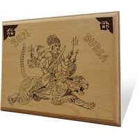 Shri Durga Wooden Engraved Plaque