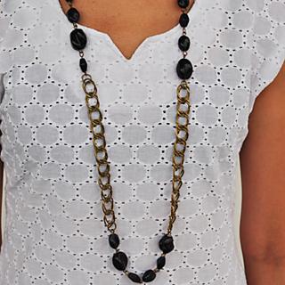 Black Stone Metal Necklace