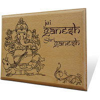 Jai Ganesh Wooden Engraved Plaque