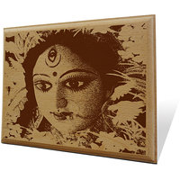 Maa Kali Wooden Engraved Plaque