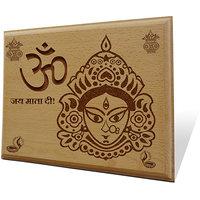 Om Jai Mata Di Wooden Engraved Plaque