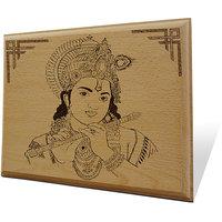 Shri Krishna With Murli Wooden Engraved Plaque