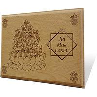 Laxmi Maa Ki Jai Wooden Engraved Plaque