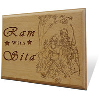 Ram With Sita Wooden Engraved Plaque