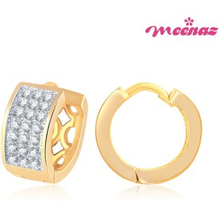 Meenaz Gold & Rhodium plated CZ Earrings B105