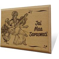 Jai Maa Saraswati Wooden Engraved Plaque