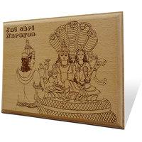 Jai Shri Narayan Wooden Engraved Plaque