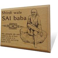 Shirdi Wale Sai Baba Wooden Engraved Plaque