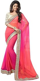 Nuteez Pink Georgette Printed Saree With Blouse