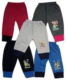 Om Shree Kids Multicolour Cotton Rib Track Pant (Pack of 5)