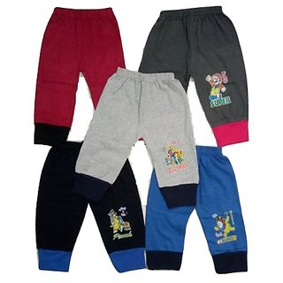 Om Shree Kids Multicolour Cotton Rib Track Pant (Pack of 5)