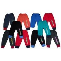 Om Shree Multicolour Cotton Kids Rib Track Pant (Pack of - 10)